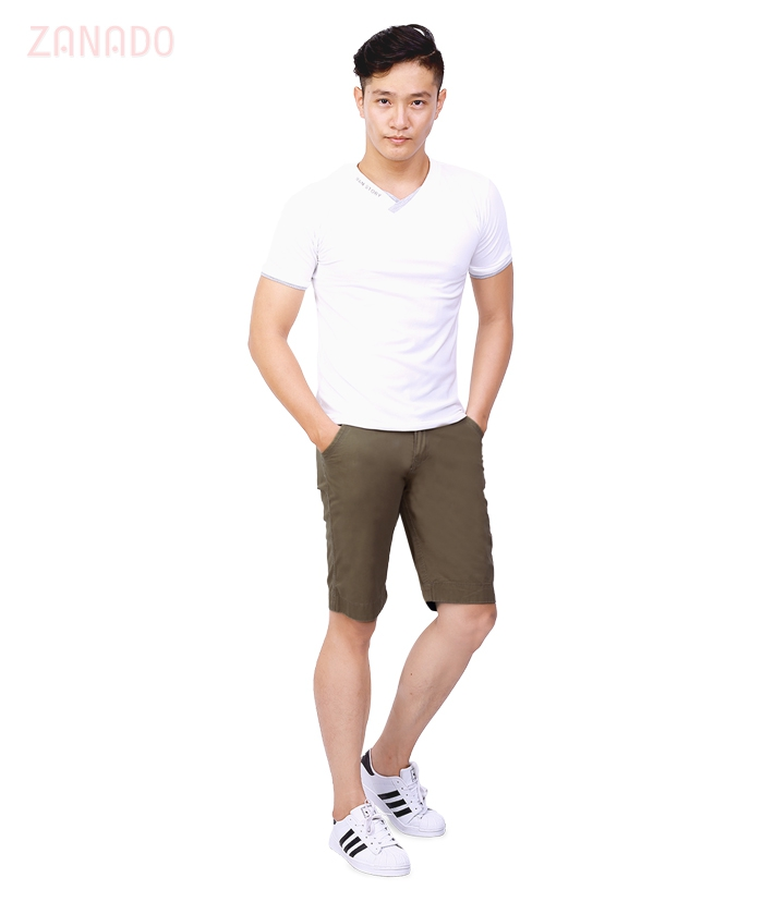 Quần short kaki nam brown color - 6