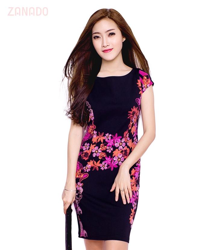 Đầm thun họa tiết Dahlia fashion - 1