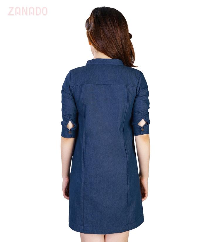 Đầm suông denim phối túi dễ thương - 3