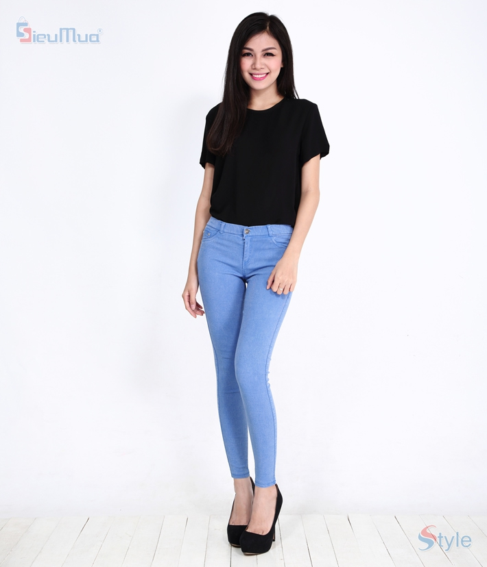 Quần skinny jeans nữ color - 6