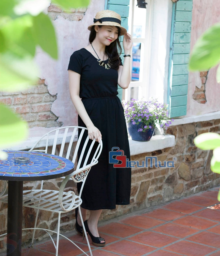 Đầm thun black fashion - 1