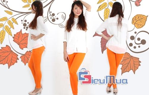 Quần jean nữ lật lai màu cam - 1