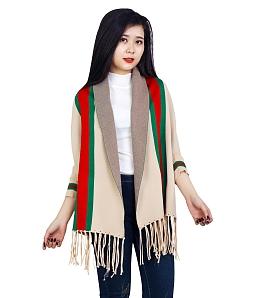 Áo khoác khăn choàng len ba màu - Kem