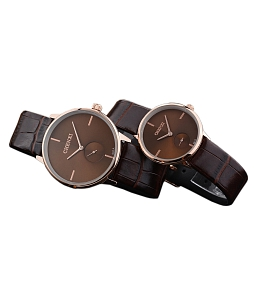 Đồng hồ cặp dây da thời trang - Nâu