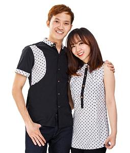 Áo cặp chấm bi thời trang
