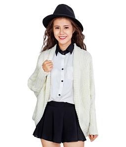 Áo khoác len nữ sành điệu - Kem