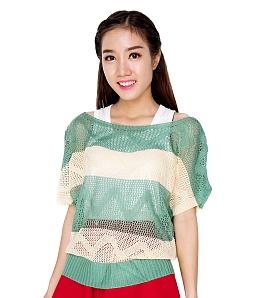 Áo len nữ gợn sóng thời trang - Xanh lá