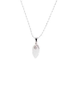 Mặt dây bạc phỉ thúy chạm hình lá HNJ 5650 - Trắng