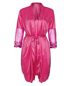 Set đầm ngủ phối tay ren hoa + áo khoác quyến rũ - Hồng sen