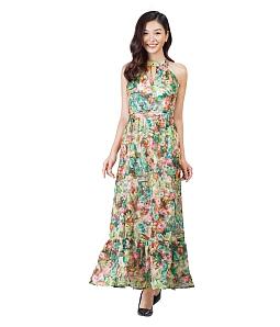 Đầm maxi cổ yếm họa tiết sắc màu - Xanh