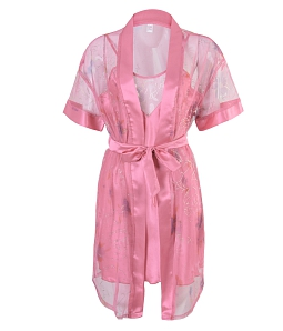 Đầm phi kèm áo khoác lưới nữ tính - Hồng