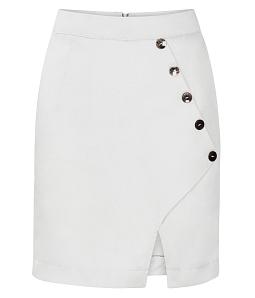 Chân váy ôm phối nút thời trang - Trắng