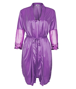 Set đầm ngủ phối tay ren hoa + áo khoác quyến rũ - Tím