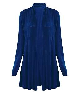 Áo choàng len dệt kim fom dài - Xanh đen
