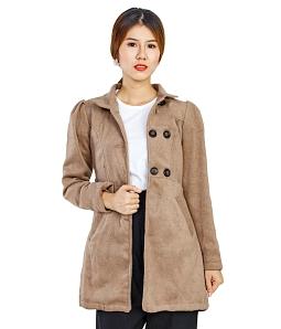 Áo khoác dạ nữ phối nút thời trang