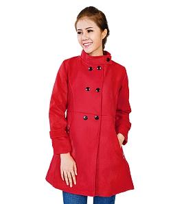 Áo khoác dạ phối nút thời trang - Đỏ