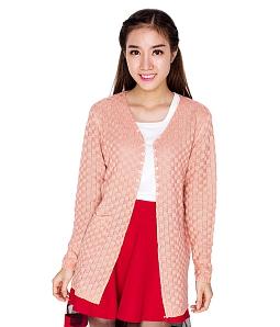 Áo khoác len nữ đan ô thời trang - Hồng