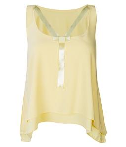 Áo kiểu nữ phối nơ ruy băng - Vàng