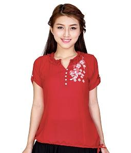 Áo kiểu nữ phối nút điệu đà - Đỏ