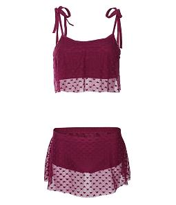 Bikini 2 mảnh phối ren điệu đà  - Đỏ