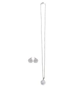 Bộ hoa tai và dây chuyên 454 - Bạc