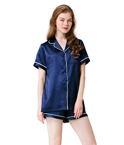 Bộ pajama short Silk Mini Pajamas CAN DE BLANC S17X9014 - Xanh