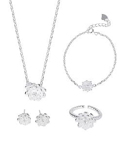 Bộ trang sức nữ bạc 925 sen đá xinh xắn
