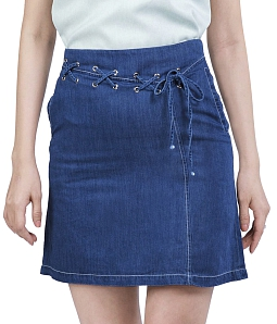 Chân váy jean đan dây xinh xắn ĐAN CHÂU 787 - Xanh dương đậm