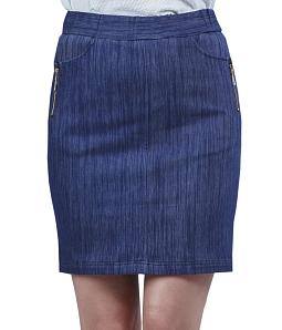 Chân váy jeans nữ phối khóa ĐAN CHÂU 784 - Xanh dương
