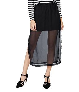 Chân váy maxi 2 lớp xẻ tà sành điệu - Đen