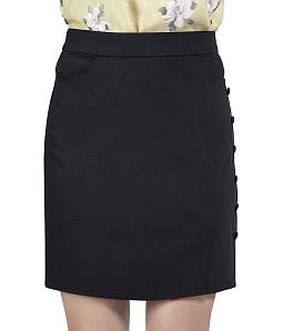 Chân váy ôm công sở phối nút ĐAN CHÂU 785 - Đen
