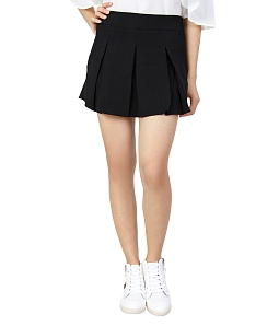 Chân váy xòe xếp ly phối túi thời trang - Đen