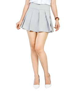 Chân váy xòe xếp ly thời trang - Xám