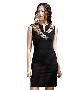 Đầm cổ vest họa tiết DELIGHT DBH70 - Đen