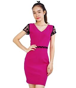 Đầm công sở phối ren - Hồng