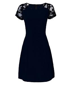 Đầm công sở phối ren tay nữ tính - Xanh đen