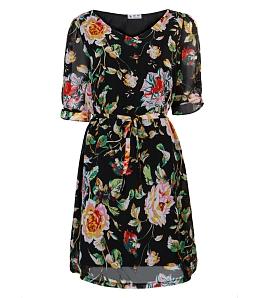 Đầm dạo phố họa tiết hoa xuân thời trang - Đen