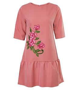 Đầm dạo phố thêu hoa duyên dáng - Hồng