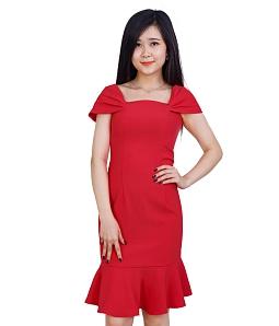 Đầm dự tiệc HINA hở vai quyến rũ 01 - Đỏ