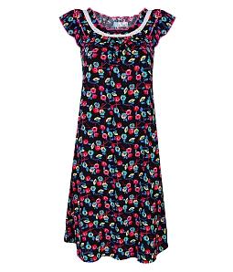 Đầm mặc nhà phối hoa xinh xắn - Đen