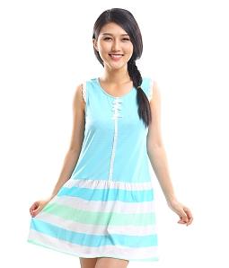 Đầm mặc nhà phối ren - Xanh dương