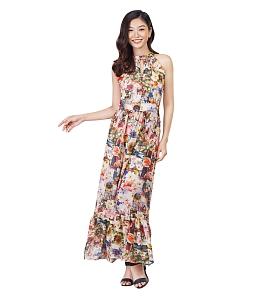 Đầm maxi cổ yếm họa tiết sắc màu - Nâu