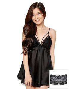 Đầm ngủ Night time + quần lót SEXY FOREVER DN007BT2 - Đen