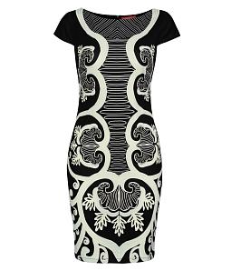 Đầm ôm họa tiết thời trang - Đen