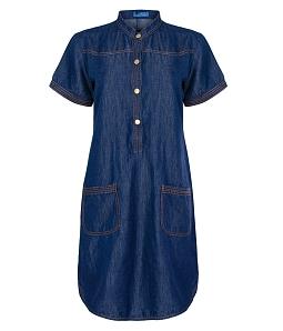 Đầm suông denim phối túi Jessie Ex cao cấp