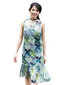 Đầm suông họa tiết chong chóng gió+ áo dây DSH309 - Xanh