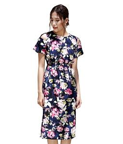 Đầm suông họa tiết DELIGHT DSH905 - Xanh đen