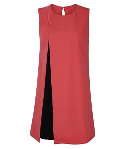 Đầm suông phối màu sang trọng - Đỏ