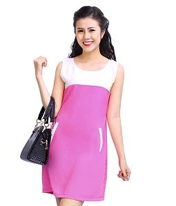 Đầm suông phối màu thời trang
