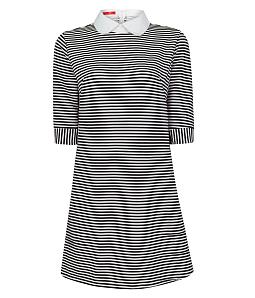 Đầm suông sọc trắng đen cổ sen thời trang - Trắng